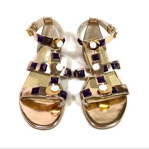 Boden Eva Gladiator Sandals Gold Size 38 US 7.5